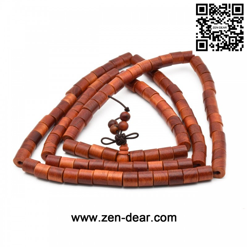 Zen Dear Unisex Natural Blood Dragon Wood Buddhist Prayer Beads Bracelet Necklace Red Agathis King of Wood Mala Beads (8mm 8mm Cylinder 108 Beads)