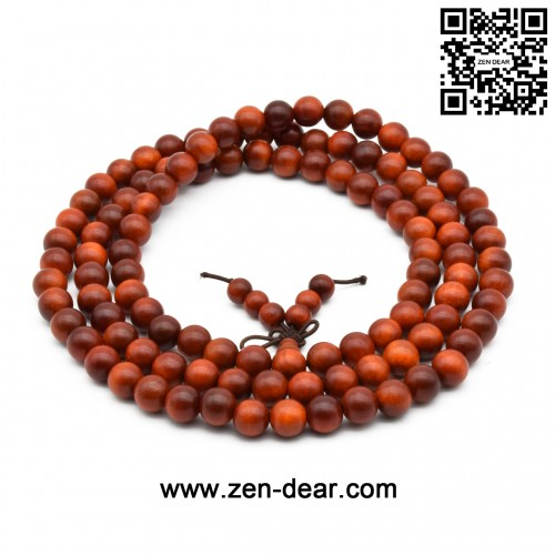 Zen Dear Unisex Natural Blood Dragon Wood Buddhist Prayer Beads Bracelet Necklace Red Agathis King of Wood Mala Beads (8mm 108 Beads)