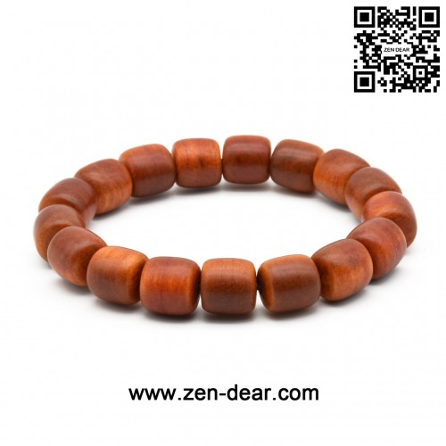 Zen Dear Unisex Natural Blood Dragon Wood Buddhist Prayer Beads Bracelet Necklace Red Agathis King of Wood Mala Beads (12mm x 12mm Cylinder x 17 Beads)