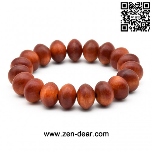 Zen Dear Unisex Natural Blood Dragon Wood Buddhist Prayer Beads Bracelet Necklace Red Agathis King of Wood Mala Beads (15mm x 10mm x 19 Beads)