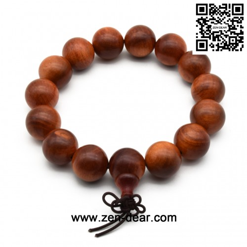 Zen Dear Unisex Natural Blood Dragon Wood Buddhist Prayer Beads Bracelet Necklace Red Agathis King of Wood Mala Beads (15mm 15 Beads)