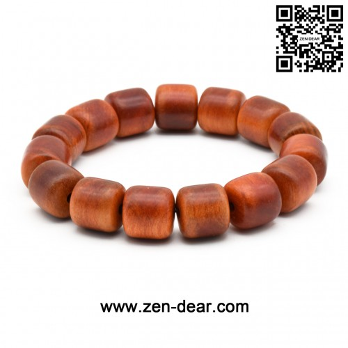 Zen Dear Unisex Natural Blood Dragon Wood Buddhist Prayer Beads Bracelet Necklace Red Agathis King of Wood Mala Beads (15mm x 15mm Cylinder x 15 Beads)