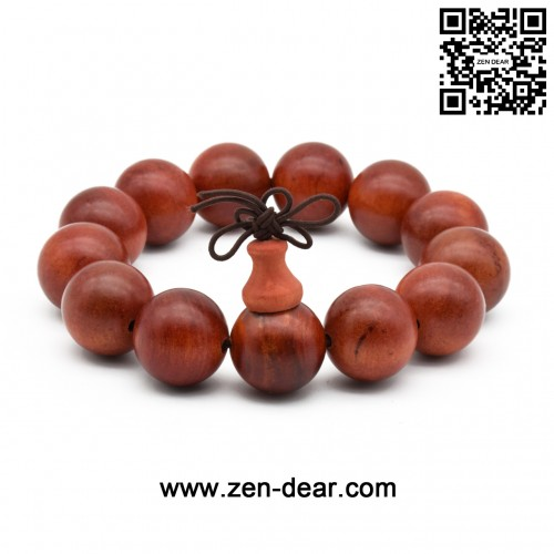 Zen Dear Unisex Natural Blood Dragon Wood Buddhist Prayer Beads Bracelet Necklace Red Agathis King of Wood Mala Beads (18mm 13 Beads)