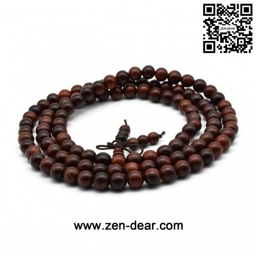 Zen Dear Unisex Natural Rosewood Prayer Beads Buddha Buddhist Prayer Meditation Mala Necklace Bracelet (8mm 108 beads)