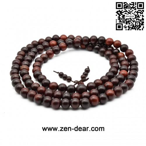 Zen Dear Unisex Natural Rosewood Prayer Beads Buddha Buddhist Prayer Meditation Mala Necklace Bracelet (10mm 108 beads)
