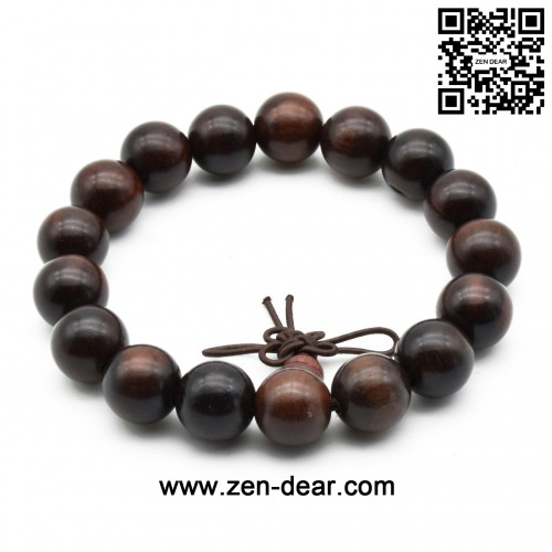 Zen Dear Unisex Natural Rosewood Prayer Beads Buddha Buddhist Prayer Meditation Mala Necklace Bracelet (12mm 17 beads)