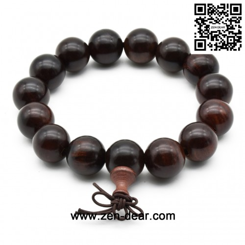 Zen Dear Unisex Natural Rosewood Prayer Beads Buddha Buddhist Prayer Meditation Mala Necklace Bracelet (15mm 15 beads)