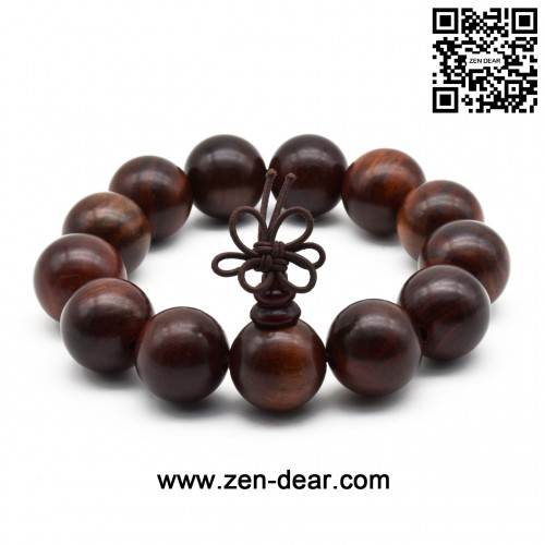 Zen Dear Unisex Natural Rosewood Prayer Beads Buddha Buddhist Prayer Meditation Mala Necklace Bracelet (18mm 13 beads)