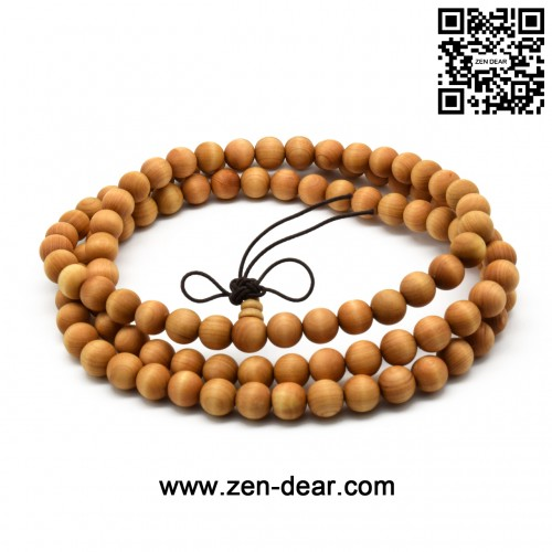 Zen Dear Unisex Natural Thuja Sutchuenensis Wood Beads Bracelet Prayer Mala Wristband Bracelet (8mm 108 Beads)