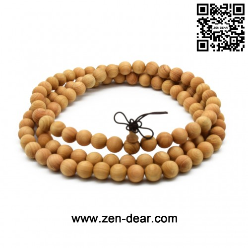 Zen Dear Unisex Natural Thuja Sutchuenensis Wood Beads Bracelet Prayer Mala Wristband Bracelet (10mm 108 Beads)