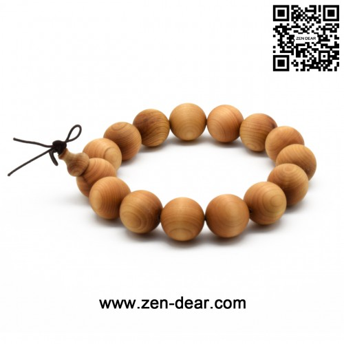 Zen Dear Unisex Natural Thuja Sutchuenensis Wood Beads Bracelet Prayer Mala Wristband Bracelet (15mm 15 Beads)