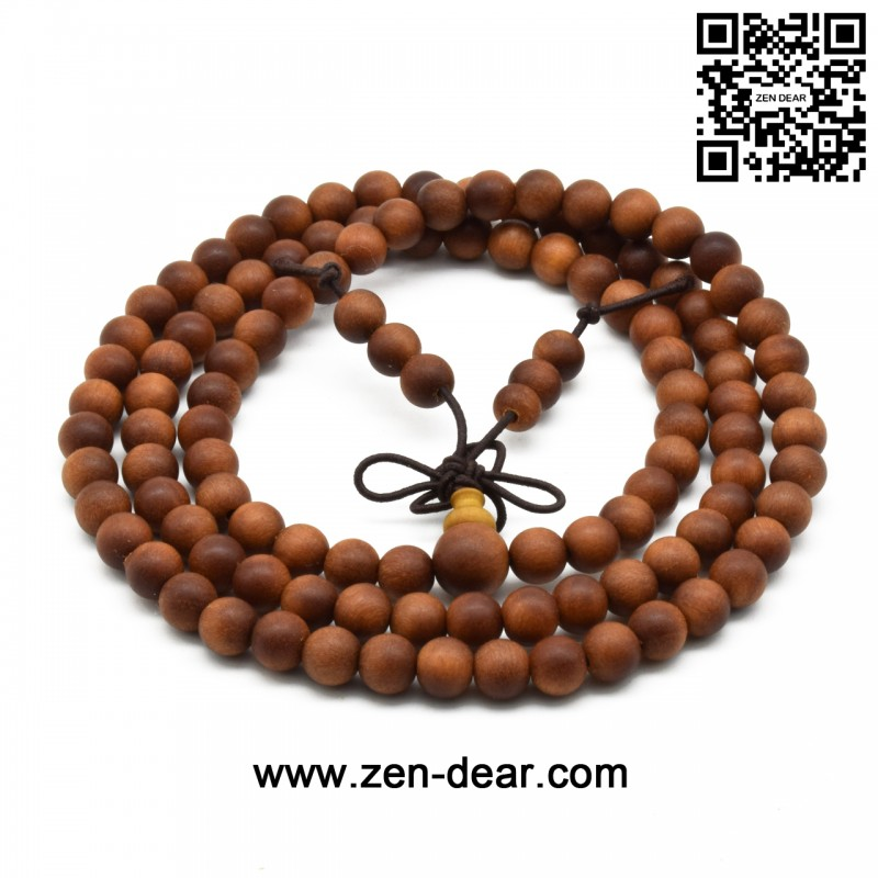 Zen Dear Unisex Teak Wood Prayer Beads Buddha Buddhist Beads Japa Mala Necklace Bracelet Beads (6mm x 108 beads)