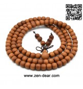 Zen Dear Unisex Teak Wood Prayer Beads Buddha Buddhist Beads Japa Mala Necklace Bracelet Beads (7mm x 9mm x 108 beads)