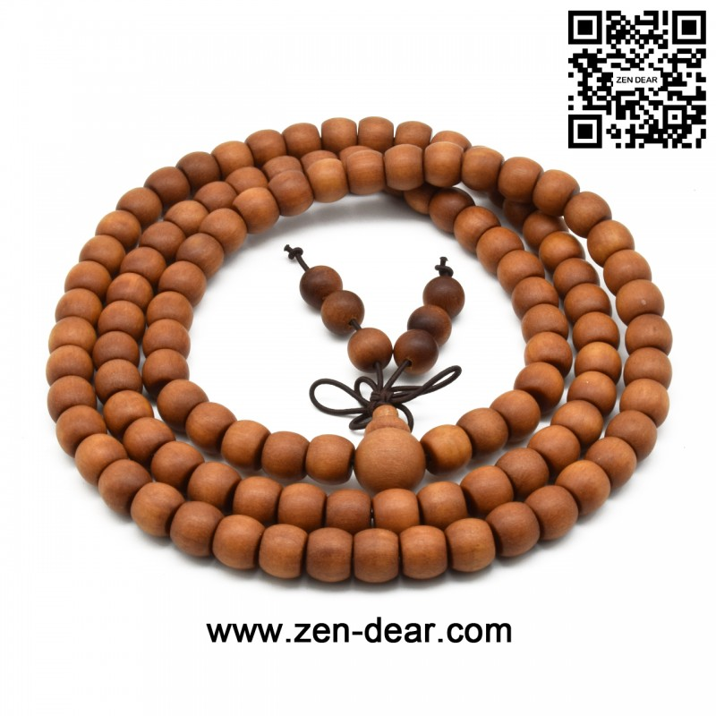 Zen Dear Unisex Teak Wood Prayer Beads Buddha Buddhist Beads Japa Mala Necklace Bracelet Beads (7mm x 9mm x 108 beads) - Men Fashion Jewelry  - Zen Dear Jewelry Store