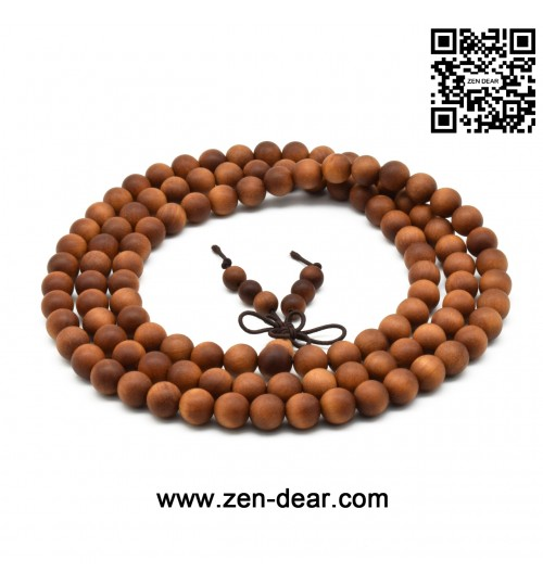 Zen Dear Unisex Teak Wood Prayer Beads Buddha Buddhist Beads Japa Mala Necklace Bracelet Beads (8mm 108 beads)