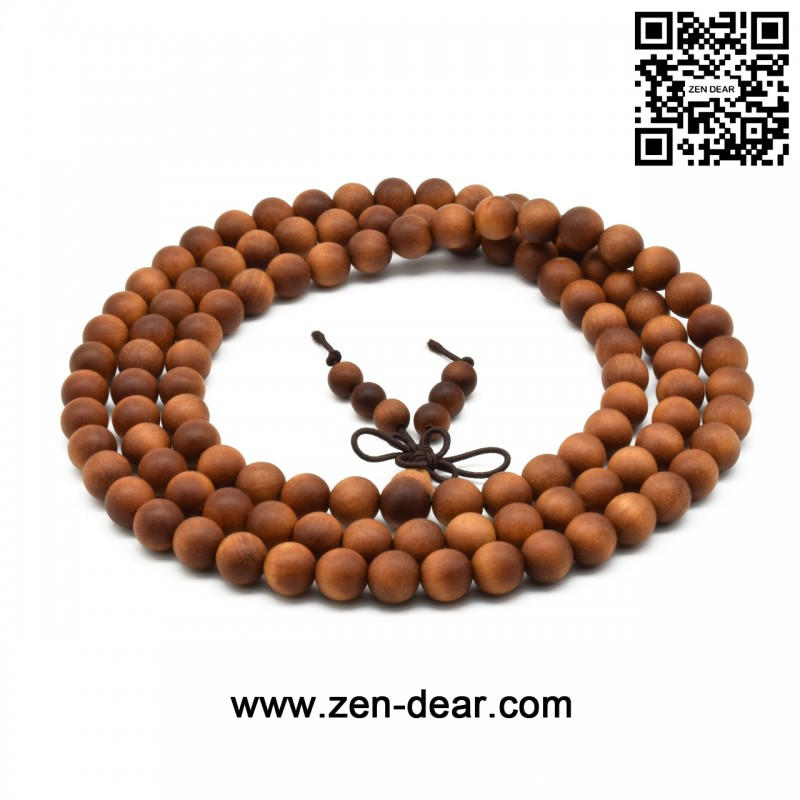 Zen Dear Unisex Teak Wood Prayer Beads Buddha Buddhist Beads Japa Mala Necklace Bracelet Beads (8mm 108 beads) - Men Fashion Jewelry  - Zen Dear Jewelry Store