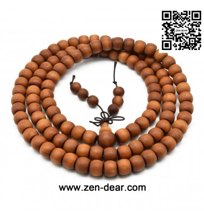 Zen Dear Unisex Teak Wood Prayer Beads Buddha Buddhist Beads Japa Mala Necklace Bracelet Beads (8mm x 10mm x 108 beads)