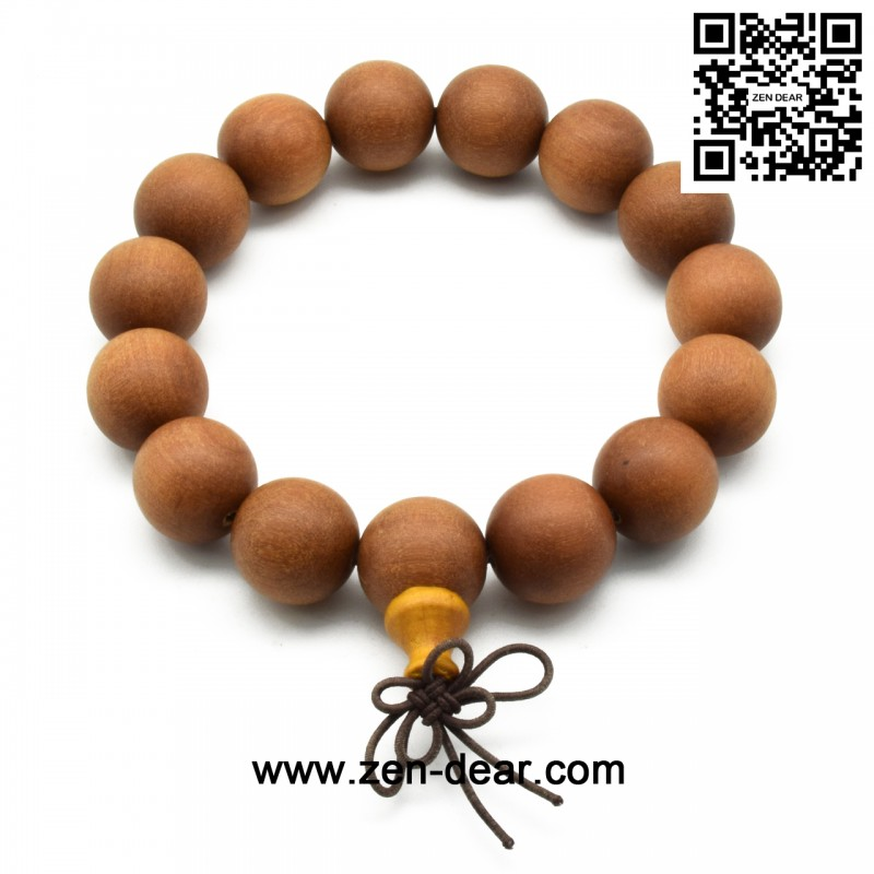 Zen Dear Unisex Teak Wood Prayer Beads Buddha Buddhist Beads Japa Mala Necklace Bracelet Beads (15mm 15 beads)