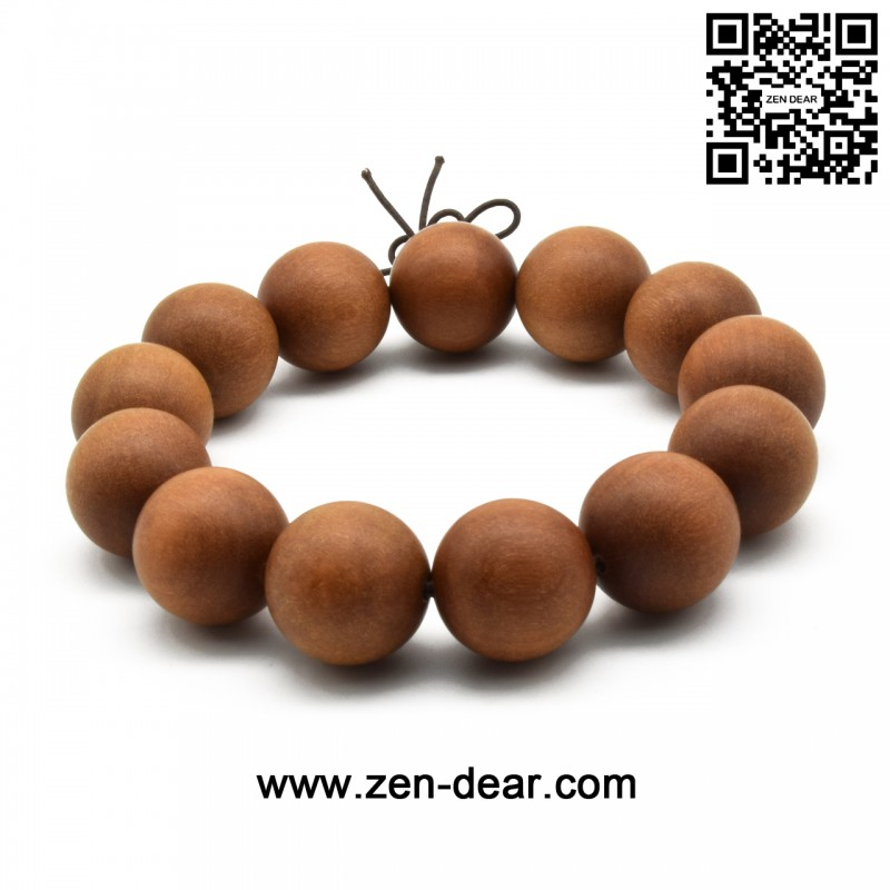 Zen Dear Unisex Teak Wood Prayer Beads Buddha Buddhist Beads Japa Mala Necklace Bracelet Beads (18mm 13 beads)