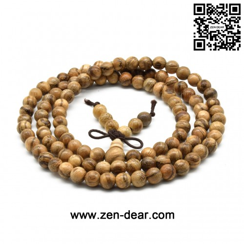 Zen Dear Unisex Natural Vietnam Agarwood Beads Buddhist Prayer Beads Japa Mala Necklace Bracelet Beads (6mm 108 beads)