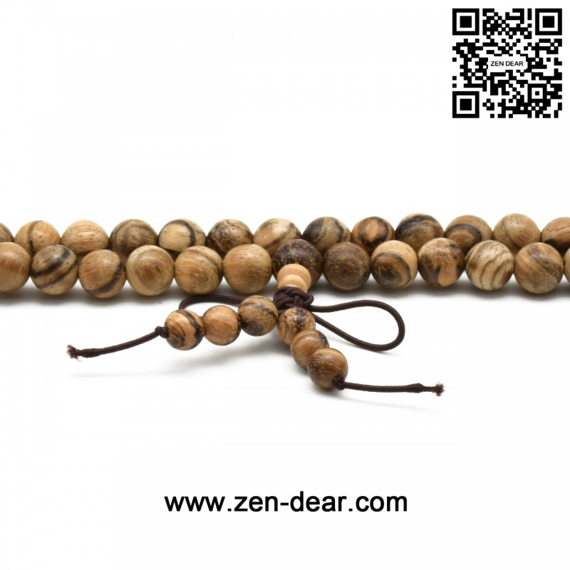 Zen Dear Unisex Natural Vietnam Agarwood Beads Buddhist Prayer Beads Japa Mala Necklace Bracelet Beads (8mm 108 beads)