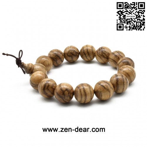 Zen Dear Unisex Natural Vietnam Agarwood Beads Buddhist Prayer Beads Japa Mala Necklace Bracelet Beads (15mm 15 beads)