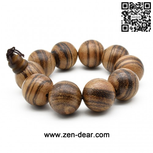 Zen Dear Unisex Natural Vietnam Agarwood Beads Buddhist Prayer Beads Japa Mala Necklace Bracelet Beads (25mm 10 beads)