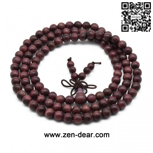 Zen Dear Unisex Natural Violet Wood Japa Mala Beads Bracelet Tibetan Buddhist Mala Beaded Prayer Beads (06mm 108Beads)
