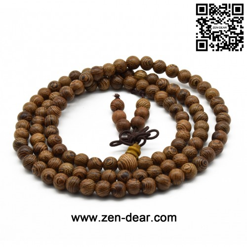 Zen Dear Unisex Natural Wenge Wood Mala Prayer Beads Necklace Bracelet Meditation Buddhist Rosary Mala Beads (6mm 108 beads)