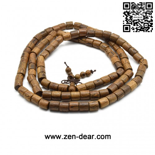 Zen Dear Unisex Natural Wenge Wood Mala Prayer Beads Necklace Bracelet Meditation Buddhist Rosary Mala Beads (8mm 108 barrel beads)