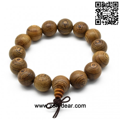 Zen Dear Unisex Natural Wenge Wood Mala Prayer Beads Necklace Bracelet Meditation Buddhist Rosary Mala Beads (15mm 15 beads)