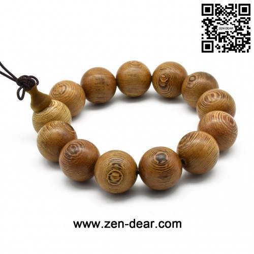 Zen Dear Unisex Natural Wenge Wood Mala Prayer Beads Necklace Bracelet Meditation Buddhist Rosary Mala Beads (18mm 13 beads)