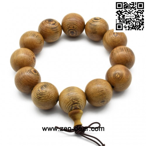 Zen Dear Unisex Natural Wenge Wood Mala Prayer Beads Necklace Bracelet Meditation Buddhist Rosary Mala Beads (20mm 12 beads)