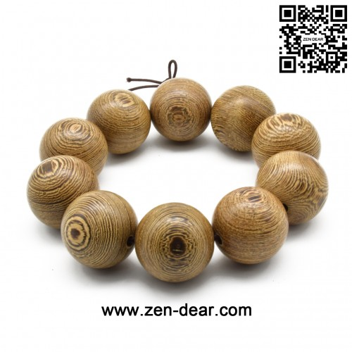 Zen Dear Unisex Natural Wenge Wood Mala Prayer Beads Necklace Bracelet Meditation Buddhist Rosary Mala Beads (25mm 10 beads)