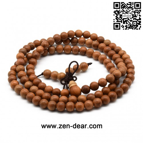 Zen Dear Unisex Natural Yew Wood Mala Prayer Bracelet Link Wrist Necklace Chain Buddhist Pray Mala Beads (6mm 108 beads)