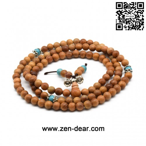 Zen Dear Unisex Natural Yew Wood Mala Prayer Bracelet Link Wrist Necklace Chain Buddhist Pray Mala Beads (6mm 108 beads special)