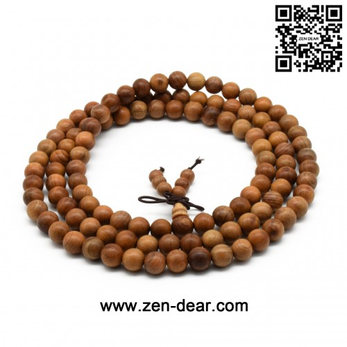 Zen Dear Unisex Natural Yew Wood Mala Prayer Bracelet Link Wrist Necklace Chain Buddhist Pray Mala Beads (8mm 108 beads)