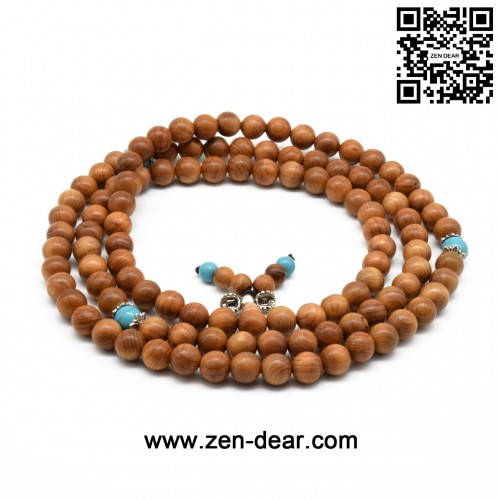 Zen Dear Unisex Natural Yew Wood Mala Prayer Bracelet Link Wrist Necklace Chain Buddhist Pray Mala Beads (8mm 108 beads special)