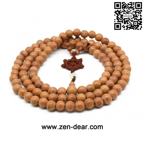 Zen Dear Unisex Natural Yew Wood Mala Prayer Bracelet Link Wrist Necklace Chain Buddhist Pray Mala Beads (10mm 108 beads)