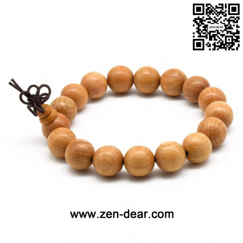 Zen Dear Unisex Natural Yew Wood Mala Prayer Bracelet Link Wrist Necklace Chain Buddhist Pray Mala Beads (12mm 17 beads)