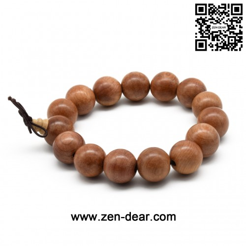 Zen Dear Unisex Natural Yew Wood Mala Prayer Bracelet Link Wrist Necklace Chain Buddhist Pray Mala Beads (15mm 15 beads)
