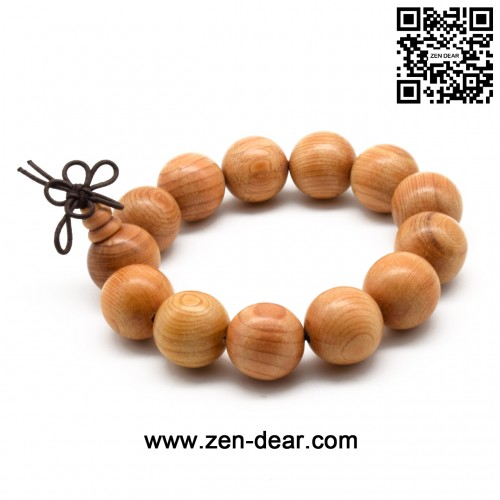 Zen Dear Unisex Natural Yew Wood Mala Prayer Bracelet Link Wrist Necklace Chain Buddhist Pray Mala Beads (18mm 13 beads)