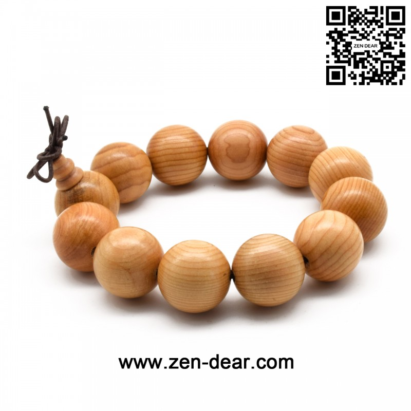 Zen Dear Unisex Natural Yew Wood Mala Prayer Bracelet Link Wrist Necklace Chain Buddhist Pray Mala Beads (20mm 12 beads)